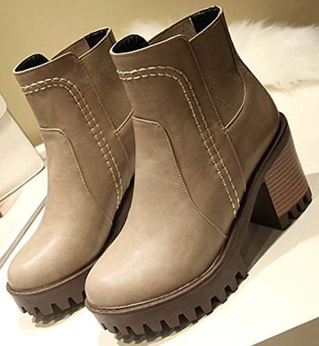 Ankle Chunky Short Mid Round Easemax High apricot Retro Booties Heel Toe Platform Women's qXIzZ6p