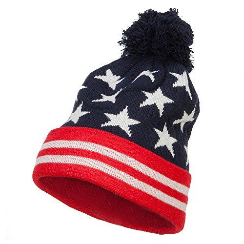 American Flag Pom Knit Beanie - Navy OSFM