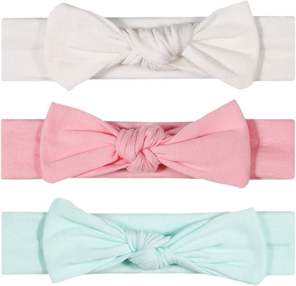 A0127 Neugeborene Stirnband Set Hasenohrschleife Haarb/änder Kopfbedeckung Kids Topknot Turbans Haarb/ögen Haarschmuck 3-tlg