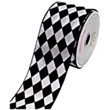 LUV RIBBONS by Creative Ideas 2-1/2-Inch Diamond Print Ribbon, 10-Yard, White with Black