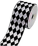 LUV RIBBONS by Creative Ideas 2-1/2-Inch Diamond Print Ribbon, 10-Yard, White with Black
