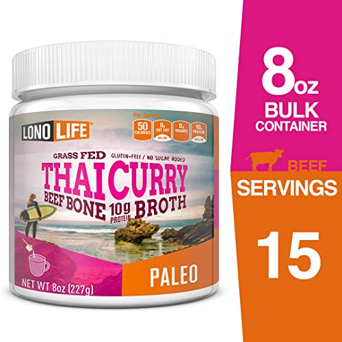 LonoLife Thai Curry Beef Bone Broth Powder with 10g Protein, 8-Ounce Bulk Container