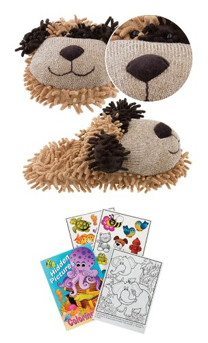 Kreative Kids 2315 Small Fuzzy Brown Dog Slippers Kids Size 11-12 +Coloring Book