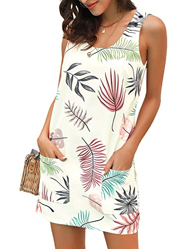 ACKKIA Women's Casual Boho Printed Sleeveless Pocket Zip Summer Tunic Shirt Short Shift Dress Beige Color Size X-Large