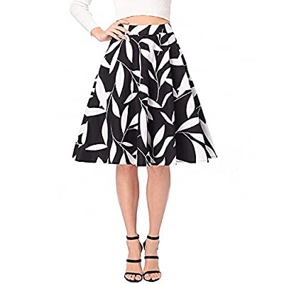 Adela Boutique Women's Floral Printed Skirt High Waist A-Line Midi Skirt Casual Pleated Vintage Loose Short Skirts