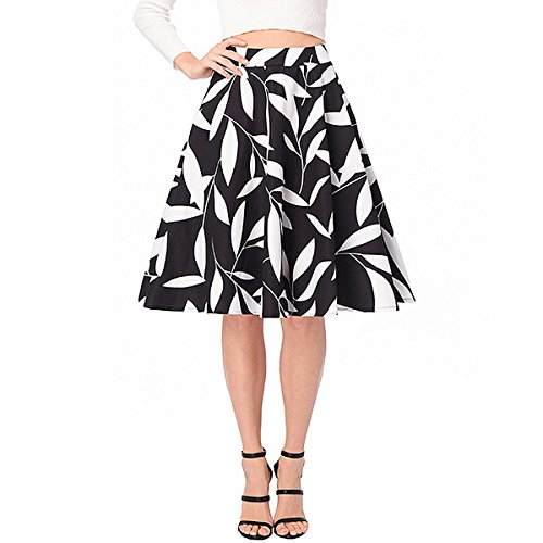 Gathered Waist Mini Skirt (Adela Boutique Women's Floral Printed Skirt High Waist A-Line Midi Skirt Casual Pleated Vintage Loose Short Skirts (Black XXL))