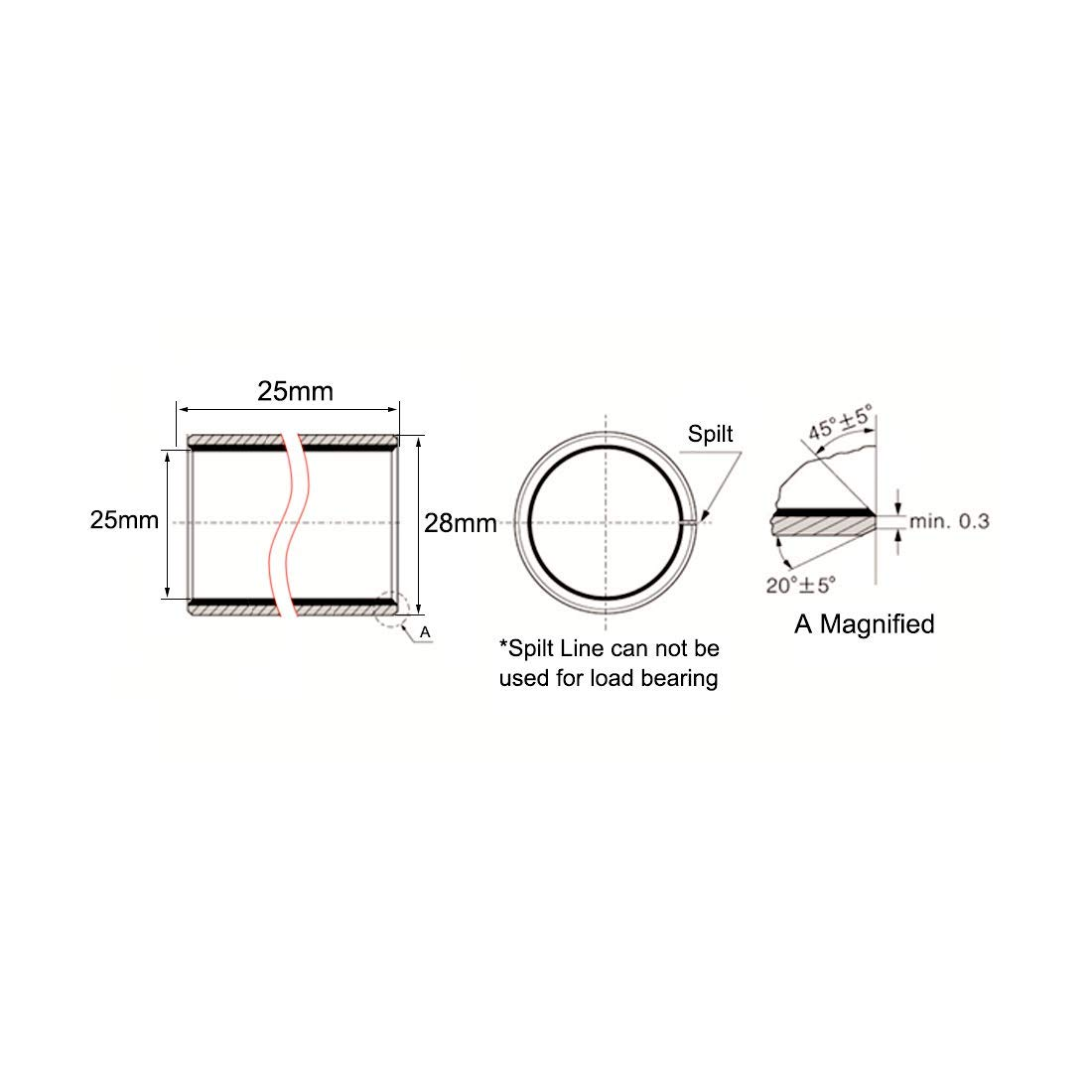 Sleeve Bearing 25 mm Diameter x 28 mm Outside Diameter x 25 mm Length Plain Bearings Oil-Free bushings Pack of 1