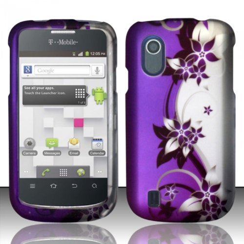 For ZTE Concord V768 (T-Mobile) Rubberized Design Cover Case - Purple/Silver Vines (T Mobile Concord Phone Cases)