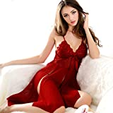 Viskey Sexy Lingerie Sleepwear Nightdress Babydoll,red,strip