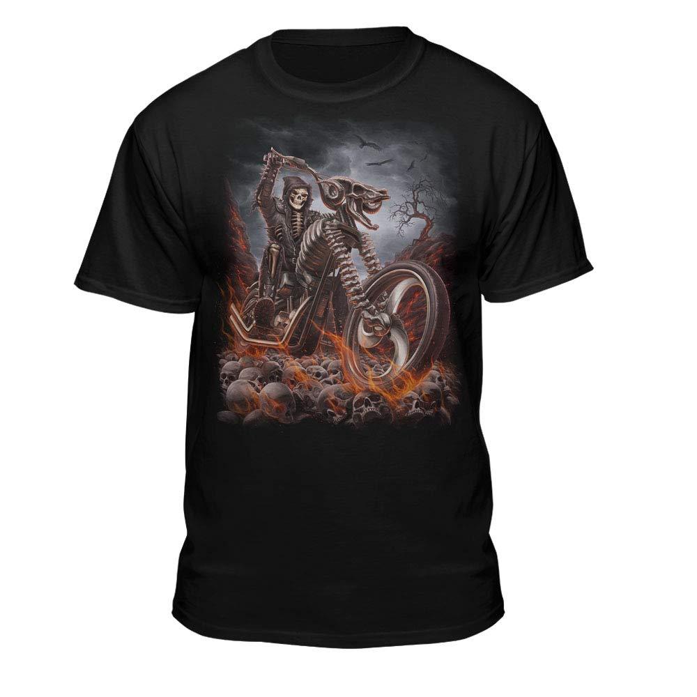 Grim Reaper Goth Biker Rock Flames Skull Motorcycle Tshirt