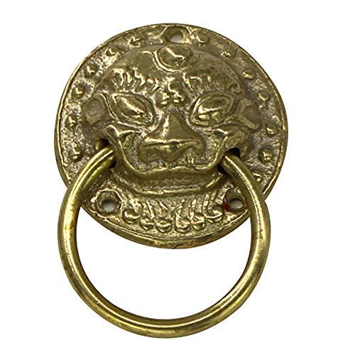 Knob Small Brass Lion Head (Nerien Antique Brass Lion Head Knobs Cabinet Door Handles Knobs for Dresser, Drawer, Cabinet, Cupboard,Closet (1.37 inch))