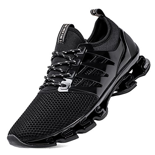 SKDOIUL Big Boys Size 7 Running Shoes mesh Breathable Sport Shoes for Men Slip on Sneakers Springblade Outdoor Trail Running Shoes Black Size 6.5 (8066black39)
