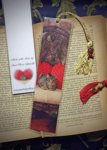 Sweetheart Daisy the Tabby Kitty Cat Kitten Photo Bookmark w/ Cloisonne Fish Beads Heart Pillows Valentine's Fine Art Photography Photo Laminated Handmade Bookmark - Kitty Cloisonne