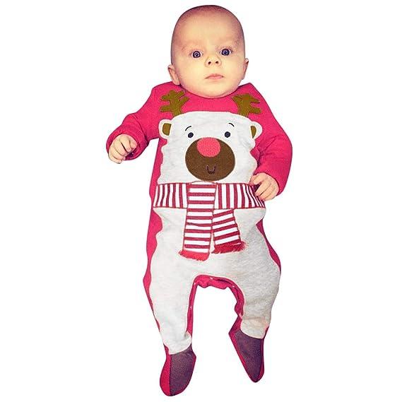 QinMM Conjunto navideño Infantil de Mono + Sombrero a Rayas para bebé niñas  y niños  Amazon.es  Ropa y accesorios f51accdbda70