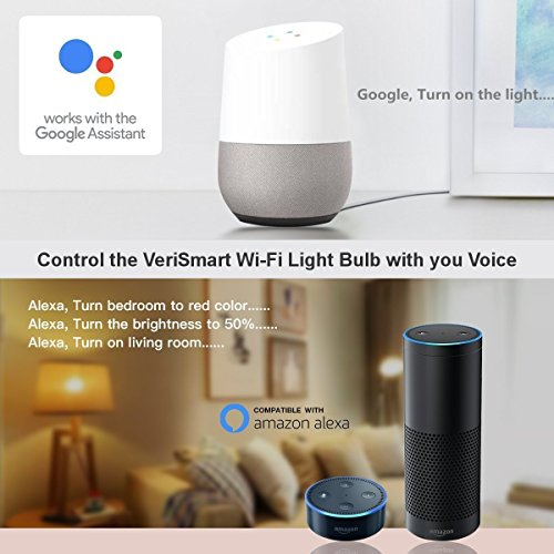 VeriSmart Wi-Fi LED Smart Light Bulb - Works with GOOGLE HOME and AMAZON ALEXA, Free APP, (7W) 60W Equivalent, 6000K, No HUB Required, CE & FCC Certified by VeriSmart (Image #5)
