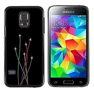 KLONGSHOP // Cubierta de piel con cierre a presión Shell trasero duro de goma Protección Caso - Avión Colores - Samsung Galaxy S5 Mini, SM-G800 //