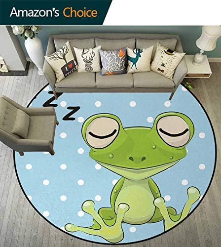 Cartoon Modern Machine Round Bath Mat,Sleeping Prince Frog In A Cap Polka Dots Background Cute Animal World Kids Decor Non-Slip No-Shedding Kitchen Soft Floor Mat Diameter-35 Inch,Green Blue
