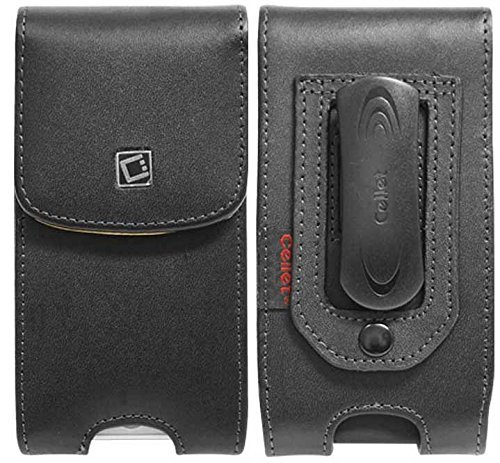 (Samsung Galaxy S5 Genuine Leather Case Pouch Magnetic Flap Closure With Removable Spring And Swivel Clip Black Vertical Top Load)