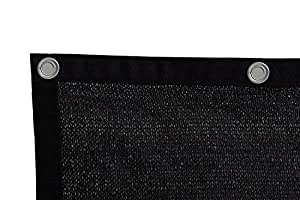 Shatex 90% Sunblock Shade Panel, Taped Edge with Grommets, Black 6 x 20ft