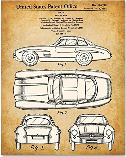 - 1955 Mercedes-Benz 300SL Gullwing Coupe - 11x14 Unframed Patent Print - Makes a Great Gift Under $15 for Car Lovers