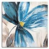 UAC WALL ARTS Abstract Painting Handmade Floral Oil Hand Painting Blue Tea Flower Wall Art On Canvas Abstract Artwork Art Wood Inside Framed Hanging Wall Decoration