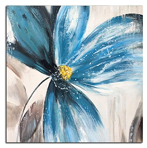 UAC WALL ARTS 100% Hand Painted Abstract Blue Flower Oil Painting Artwork Wood Inside Framed Wall Decor Modern Floral Tea Canvas Wall Art Hanging Wall Decoration