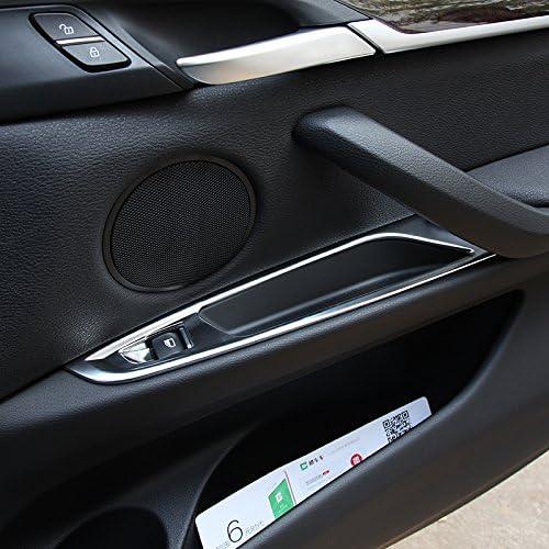 SODIAL Chrome Door Window Button Panel Cover Trim Adesivi per BMW X5 X6 F15 F16 2014-2017 Accessori Car-Styling per LHD