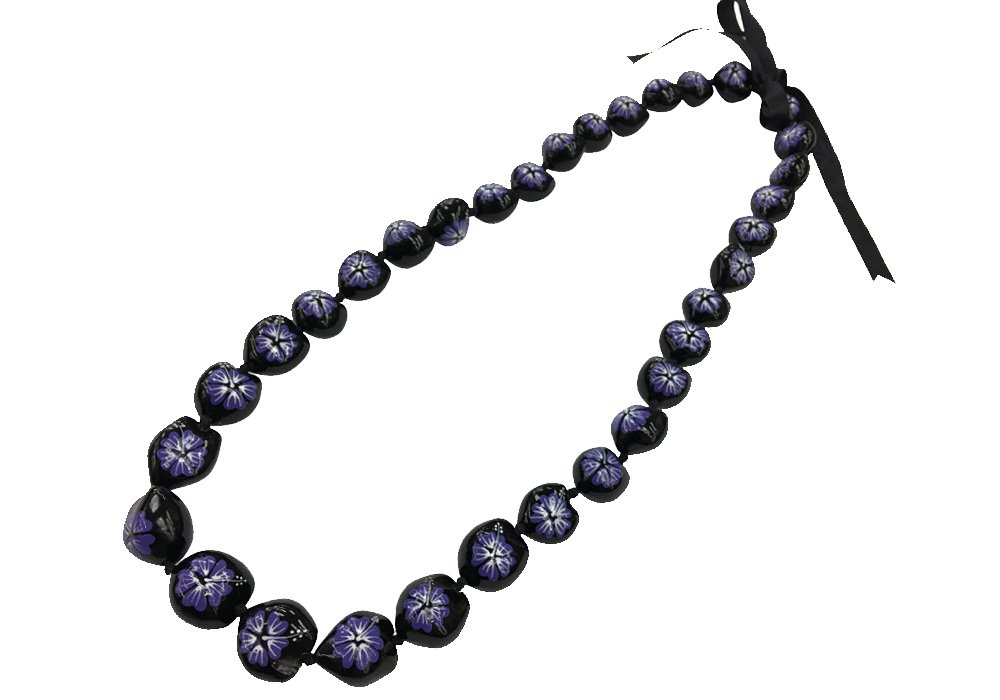 DK Hawaiian Collections Style Kukui Nut Lei Hibiscus Flower Hand Painted 33 Nuts Necklace (Purple)
