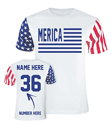 Merica 3 - Custom 4th of July T Shirts & Jerseys - Patriotic American Flag Outfits - (Jersey Striped Onesie)