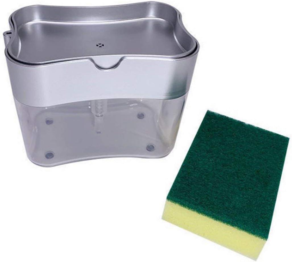 ACEHE Kitchen Essentials Cepillo para Lavar Platos Olla Artefacto Presione la Caja de líquido Bloque de Esponja con Fuerte absorción de Agua (Plata)