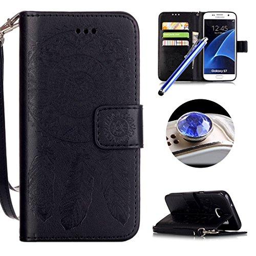 [ Samsung Galaxy S7 ] Funda Protector de Funda para Telefono Movil,Samsung Galaxy S7 Funda Caso de PU Cuero Leather,El Patrón de la Tribu Retro Moda Funda para Samsung Galaxy S7,Flip Folio Bookstyle c Campánula Negro