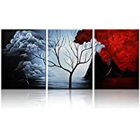 Santin Art- Modern Abstract Painting the Cloud Tree High Q. Wall Decor  Landscape Paintings on Canvas 12x16inch 3pcs Stretched and Framedu2026