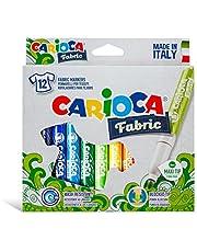 طقم الوان كاريوكا 12 لون فلوماستر للتلوين على القماش صناعة ايطالية