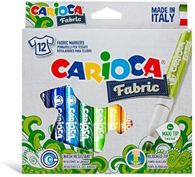 Carioca Fabric Textil | 40957 - Caja de Rotuladores con Punta Maxi para Telas / Tejidos, 12 Colores: Amazon.es: Oficina y papelería