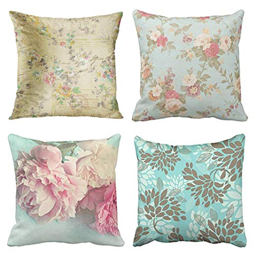 Emvency Set of 4 Throw Pillow Covers Shabby Chic Vintage Flowers Pink Antique Roses Floral Rose Habby Decorative Pillow Cases Home Decor Square 18x18 Inches Pillowcases