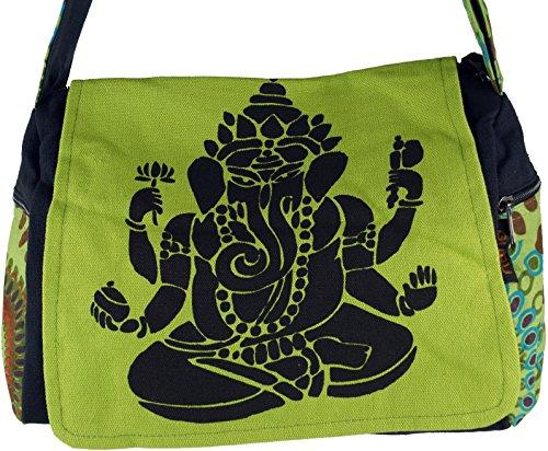 Guru-Shop Schultertasche, Hippie Tasche, Goa Tasche Ganesha - Grün, Herren/Damen, Baumwolle, 23x28x12 cm, Alternative Umhängetasche, Handtasche aus Stoff Grün