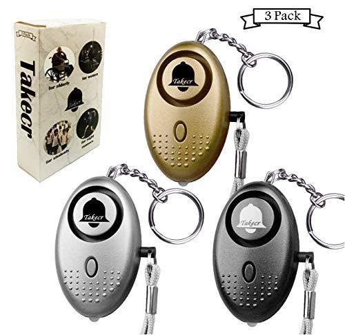 TAKECR Safe Sound Personal Alarm,2 or 3 Pack 140DB Security Alarm Safesound Keychain with LED Lights, Emergency Safety for Women, Men, Children, Elderly Self-Defense Light Women Kids (3)