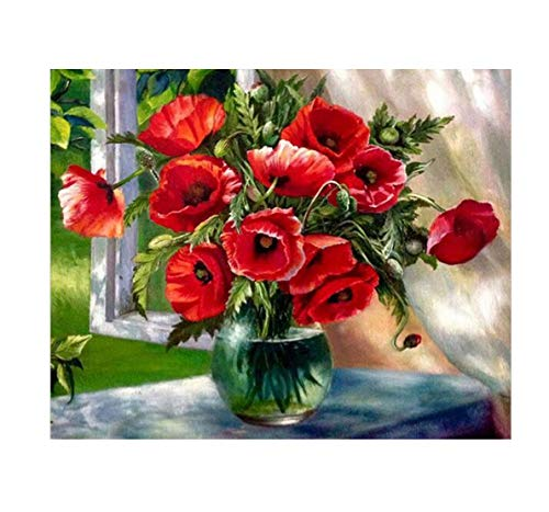 (Tutu.vivi Frame DIY Oil Painting Paint by Number Kit 16x20 inch Linen Canvas Without Frame Windowsill Vase)