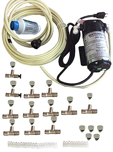 mistcooling System - 160 PSI Misting Pump, Brass/Stainless Steel Nozzles - for Patio Misting, Greenhouse humidification, Outdoor Cooling (110 V AC - 12 Nozzles)