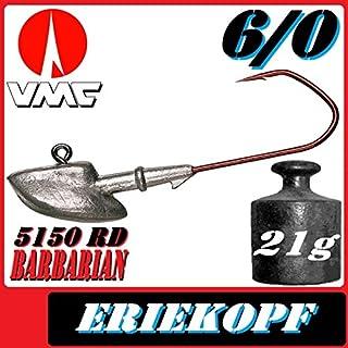 VMC Jigkopfhaken Jigkopf Eriekopf 6/0 21g Jighaken 5 Stück im Set für Gummifische