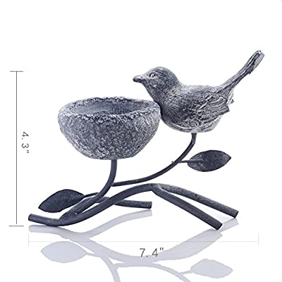 Marbrasse TeaLight Candle Holders Vintage Home Decor Centerpiece Resin Bird Rustic Iron Branches Votive Candle Stands
