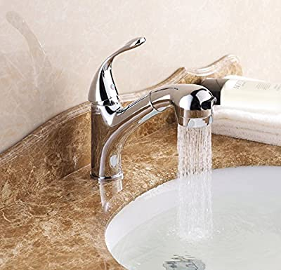 Chrome Polished Pull Out Sprayer Bathroom Sink Faucet One Hole Mixer Tap