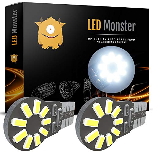 LED Monster 194 Led Bulb 6000K White - Best For License Plate Light & Dome Light Position - T10 LED Bulbs 12 Volt - Luces Led Para Autos - Automotive Accessories for Car & Truck - 3 Years Warranty