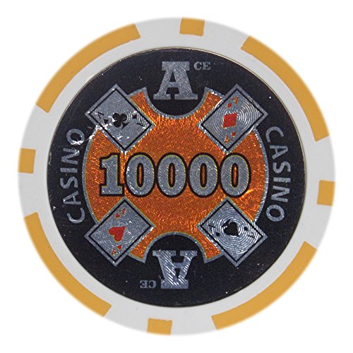 Brybelly Ace Casino Poker Chip Heavyweight 14-gram Clay Composite - Pack of 50 ($10000 Orange)