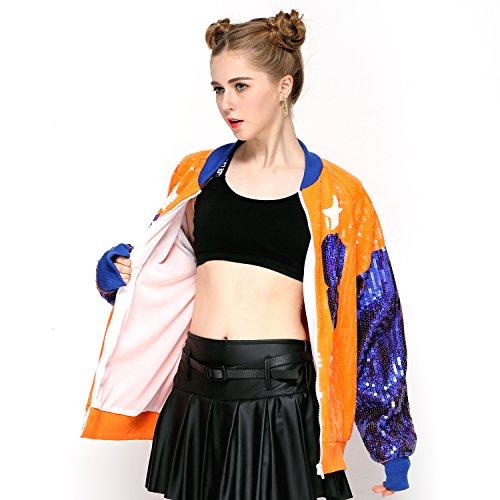 Sparkle Sequin Letter Jacket Coat - Glitter Long Sleeve Jacket for Women by IMAGICSUN (Image #3)
