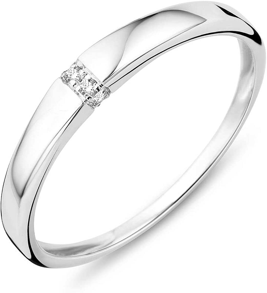 Miore - Anillo para mujer de oro blanco de 9 quilates (375) con diamante de 0,02 ct