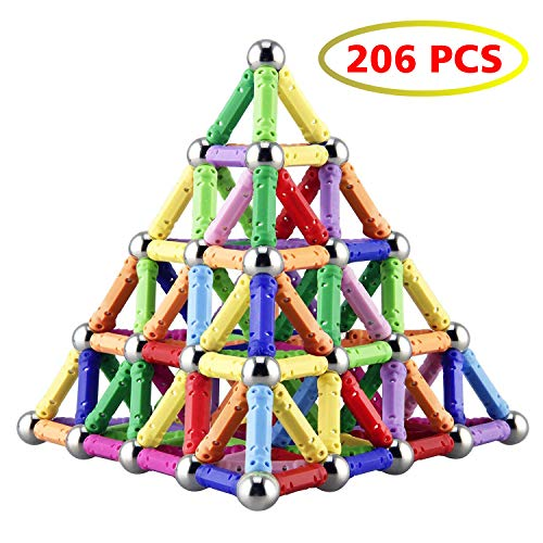 Game Education - Veatree 206 Pieces Magnetic Building Blocks Toys Magnet Construction Build Kit Education Toys for Kids Playing Stacking Game with Magnetic Bricks and Sticks
