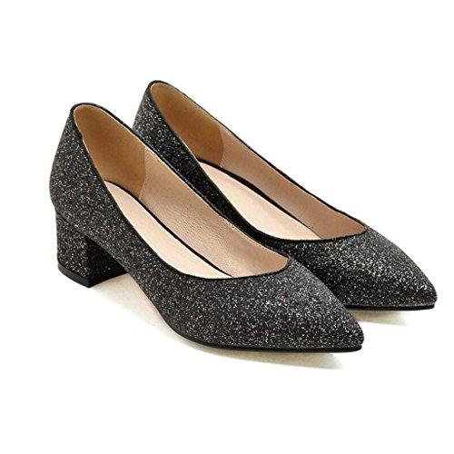 Zapatos de tacón Spring Paño De Lentejuelas Boca Poco Profunda Talón Grueso Medio Talón Zapatos De Mujer Negro
