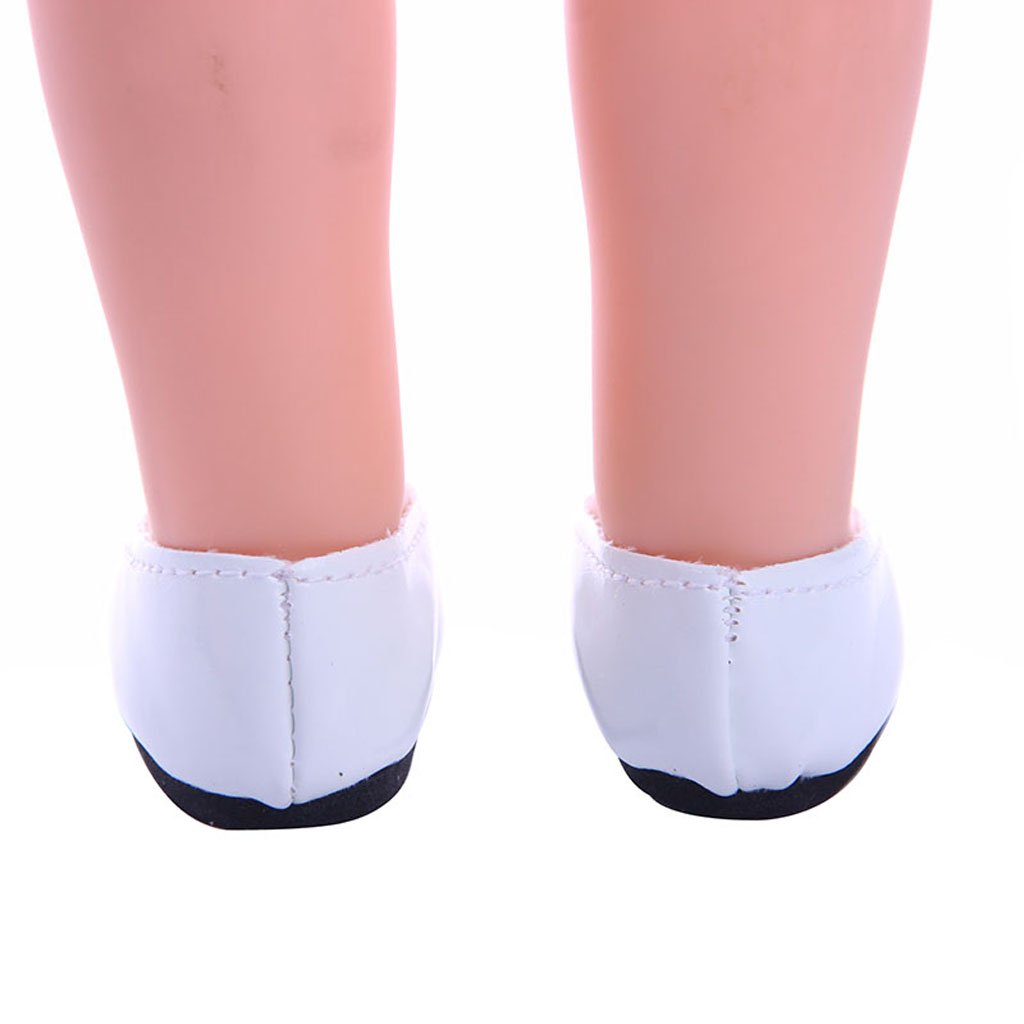 MonkeyJack White Pretty Slip On Pumps Shoes for 14 INCH American Doll Wellie Wishers Doll Dresses