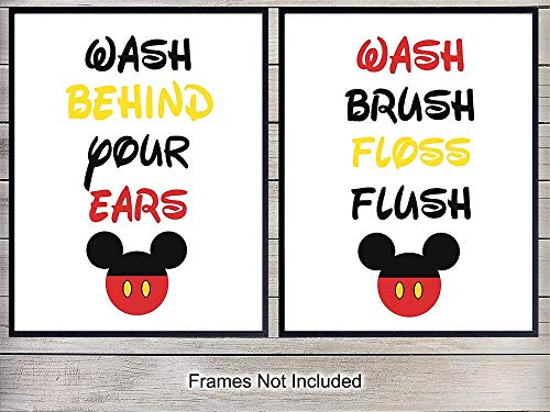Mickey Mouse Bathroom Art Print Set - Funny Wall Art Poster - Unique Home Decor for Bath - Gift for Kids, Boys, Girls, Toddlers, Disney World, Disneyland Fans - 8x10 Photo Unframed Typography
